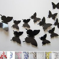Wholesale Wholesales Fashion New D Butterfly Wall Sticker Home Party Wedding Decoration DIY Home Decoration Colors JM0051 Salebags