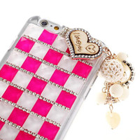 apple hair bow - Bling Bling Crystal Rhinestone Diamond Party Fox Fur Hair Case hand made bow lips stick for iPhone plus iPhone6 iphone waitingyou