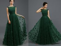 Wholesale 2016 New Hunter Green A Ling Beads Crystal Prom Dresses zuhair murad Formal evening dressess Floor length