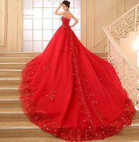 Wholesale 2015 New Cheap Ball Gown Wedding Dress Sweetheart Crystal Meters Long Train Red All Color Custom Made Charming Appliques Lace up New