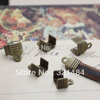 Cheap DIY 1000X Antique bronze used for 5x2mm Flat leather cord necklace connector crimp ends caps buckle Clips Clasps