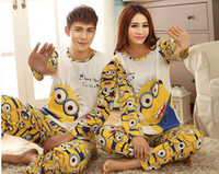 Wholesale cosplay Lovers sleepwear spring autumn long sleeve cartoon lovers home clothing couples matching pajamas adult minion pajamas sets
