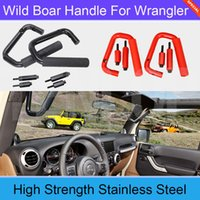 Wholesale 2PCS Car Styling Stainess Steel Black Front Row Wild Boar Handle For Offroad Wrangler JK