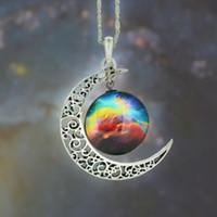 Collar de la luna 12 colores vintage estrellado espacio exterior Luna Universo de piedras preciosas joyas collares colgantes Cadena Niños Accesorios nerf bjd