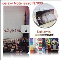 n7000 tpu - Leather Flip Case with fashion for Samsung Galaxy Note i9220 N7000 line design stand phone case
