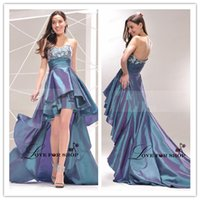asymetrical dress - Marvelous Sweetheart Asymetrical Hemline Appliques Cocktail Dress High Low Sleeveless Zipper Embroidery Satin Prom Dress Party Dress WH0525