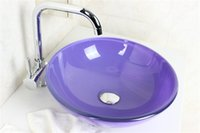 Wholesale Purple colored glass pots Tempered Glass Vessel Sink With Emperor Faucet Set N