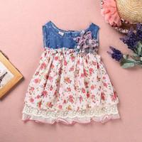baby flowers uk - Baby Girls summer Dress Denim Chiffon Flower Dress Girls Kids Dresses Clothes UK