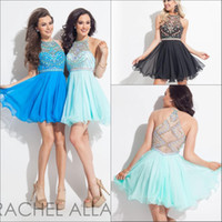 Cheap Shining Mini Homecoming Dresses 2016 Hot New Chiffon Halter Neckline Beaded Short A-line Illusion Backless Cocktail Party Dress
