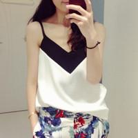 Wholesale new V neck black and white chiffon vest women top