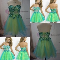 A-Line short dresses - 2015 Blue Green Homecoming Dresses Real Image Sweetheart Crystal A Line Short Prom Dress Cocktail Dresses Bridesmaid Party Gowns BL9721
