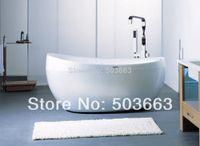 bath real estate - Construction Real Estate Floor Stand Bathtub Faucets Brass Chrome Free Standing Bath Shower Mixer Set MF Mixer Tap Faucet