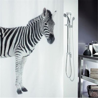 Wholesale Brand Home Bath Curtain Bathroom Shower Curtain With Hooks Zebra Art Style Waterproof Fabric