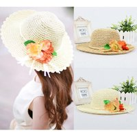 flower paper straws - New Fashion Straw Summer Hat For Women Crocheted Flowers Leaves Chapeu Feminino Foldable Floppy Sweet Beach Cap Khaki Beige GA0066
