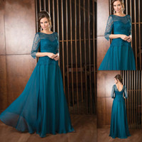 blue green jade - Formal Jade Green Mother Of The Bride Grooms Dresses Chiffon And Lace Sleeves Long Sheer Neck Weddings Evening Guests Gowns