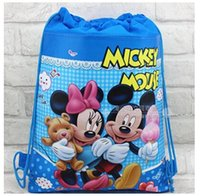 Wholesale Hot Non woven string backpack for kids Mickey Minnie Mickey Mouse cartoon double sided fabric backpacks Children s school cartoon bag