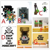 Wholesale Hot Sale D Minecraft Wall Sticker Cartoon Wallpaper For Decorations Kids Room Wall Decal Home Decoration Steve Decorative Kids Art Paper