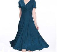 plus size dropship - New arrival colors high quality milk silk ladies elegant V neck short sleeve slim mid calf long plus size dress dropship Evening Dress