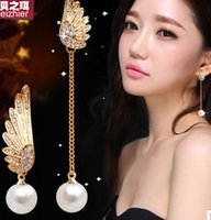 Wholesale 2 pairs Asymmetrical wings diamond pearl lady s earings