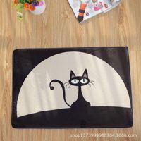 bath mat black - 10pcs rugs carpet Black cat carpet mats doormat mat thick section flannel slip bath mat ZAKKA