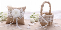 Cheap New Rustic Wedding Hessian Burlap Lace Ring Pillow & Flower Girl Basket Set Party Favors