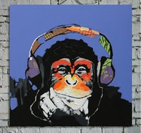best painting for living room - Hand Painted Best Sales Animal Oil Painting on Canvas Gorilla Art for Wall Decoration in Living Room or Children Room pc