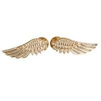 aqua metallic - European And American Punk Style Wings Brooch Metallic Collar Pin Brooch Factory Direct