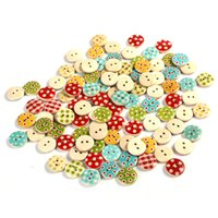 Wholesale 100 Mixed Holes Round Wave Pattern Wooden Buttons Sewing Scrapbooking mm DIY