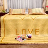 bamboo flooring designs - Smooth luster surface Bamboo Summer Sleeping Mat Full Size Love Pattern Design Floor Mat for Sale LX1506