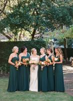 2016 Nueva baratos verdes largo vestido de dama elegante de la gasa de las colmenas del jardín huésped de la boda vestidos de un hombro de la vendimia de la criada del honor Vestidos