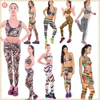 Wholesale 2015 women Printed leggings sports bras outfits High Waist Fitness YOGA tights pencil pants vest tops tanks shirts Tracksuits TOPB3238