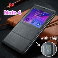 auto battery cover - Smart View Auto Sleep Wake Shell With Original Chip Battery Bag Leather Case Flip Cover For Samsung Galaxy Note Note4 N9100