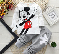 minnie - 2015 Spring Mickey Minnie Mouse Cartoon Sets Baby Boys Girls T shirt Pants Cotton Kids Babies Clothes Yellow Red Gray Blue