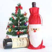 Wholesale Christmas Santa Wine Bottle Covers Red Wine Christmas wine holders Decoration Covers Christmas wine bags wine bottle Bags Home Decorations