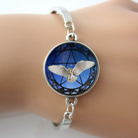 antique backgrounds - Owl and Pentagram Star Background Photo Glass Dome Bracelets Bangle Plated Antique Silver Round Charm Rhodium Plated Bangles New
