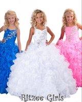 Wholesale Sweetheart Floor Length Feather Dress - New Arrival 2015 Crystal Pageant Dress Ball Gown Halter Floor Length Organza Beaded Ruffles Blue Flower Girl Dresses