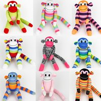 Wholesale Christmas Show Sock - Wholesale-Handmade DIY Stuffed Girl Cute Sock Monkey Baby Show Toys Birthday Gifts Christmas New Year Soft Animals Doll