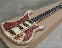 Wholesale The New Brand Factory Customized Electric Bass with NC Engraving Stripes and Pickups and Can be Changed