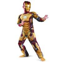 Wholesale Iron Man Mark Patriot Muscle Child Kids Halloween Costume Fantasia Avengers Superhero Cosplay Outfit
