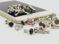 Wholesale 3 mm Anti Dust Headphone Earphone Steel Jeweled Butt Jack Plug Tail for iPhone5 C S Note3 S4 Mobile Phones Headphones Earphones Free DHL