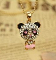 Pendant Necklaces Mexican Women's shiny rhinestone super charm panda necklace jewelry pendant necklaces!Really nice!
