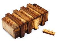 achat en gros de qi double-50pcs / lot double coffret cadeau QI magie bois de serrure à secret Cerveau Teaser Puzzle cadeaux de Noël de boîtes cadeaux idée DHL Fedex livraison gratuite