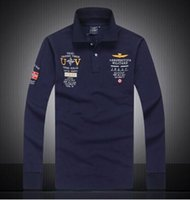 air force prints - 2016 Models aeronautica militare camisa masculina polo mens Long sleeve Polo shirt brands Air force one shark solid polo shirt