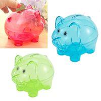 money box - 3 Colors Cartoon Pig Shaped Money Box Creative Colorful Clear Plastic Children Gift Money Saving Box Case Coins Piggy Bank PC