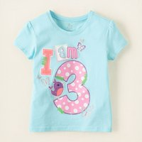 Wholesale 6 pieces years Bird and Butterflies Printed Cotton Kids Girl Short Sleeves T Shirt Kids Clothes