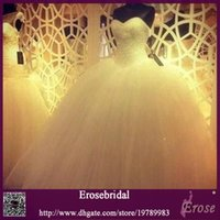Wholesale 2015 New Sexy Custom Made Real Sample Sweetheart Tulle Wedding Dresses With Beadings Top Bridal Ball Gown