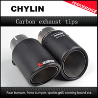 Wholesale 1 Pair ID mm OD mm Akrapovic Carbon Fiber Muffler Exhaust Pipe Tip for audi