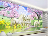 Wholesale Custom photo wallpaper D stereoscopic Unicorn Dream Sakura TV background d mural wallpaper
