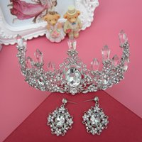 act pieces - Two Pieces Who Sale Cheap Bridal Crown And Earing Princess White Crystal Elegant Acting Prom Cosplay Hairband Tiaras Brides Accessories WWL