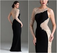 one shoulder black evening dress - 2015 Black White Evening Dresses One Shoulder Long Sleeve Keyhole Back Evening Gowns with Beads and Crystal Floor Length Formal Dress Long